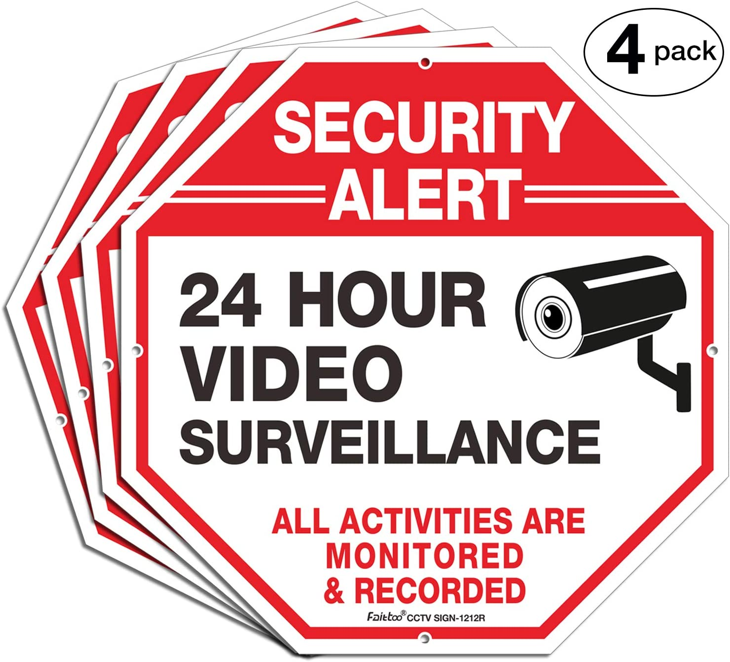 Video Surveillance Signs, Security Signs,Octagon 12 x12 Inches 40Mil Thick Aluminum Reflective Sign for Home Business CCTV Security Camera, UV Protected & Waterproof, 4 Pack
