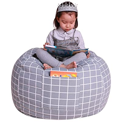 Stuffed Animal Storage Bean Bag Chair Cover|38X38 Inches Extra Large|100% Cotton Canvas | Bean Bag Chair for Kids, Toddlers and Teens(Boys or Girls)|Toy Storage Bag|Grey Checker: Baby