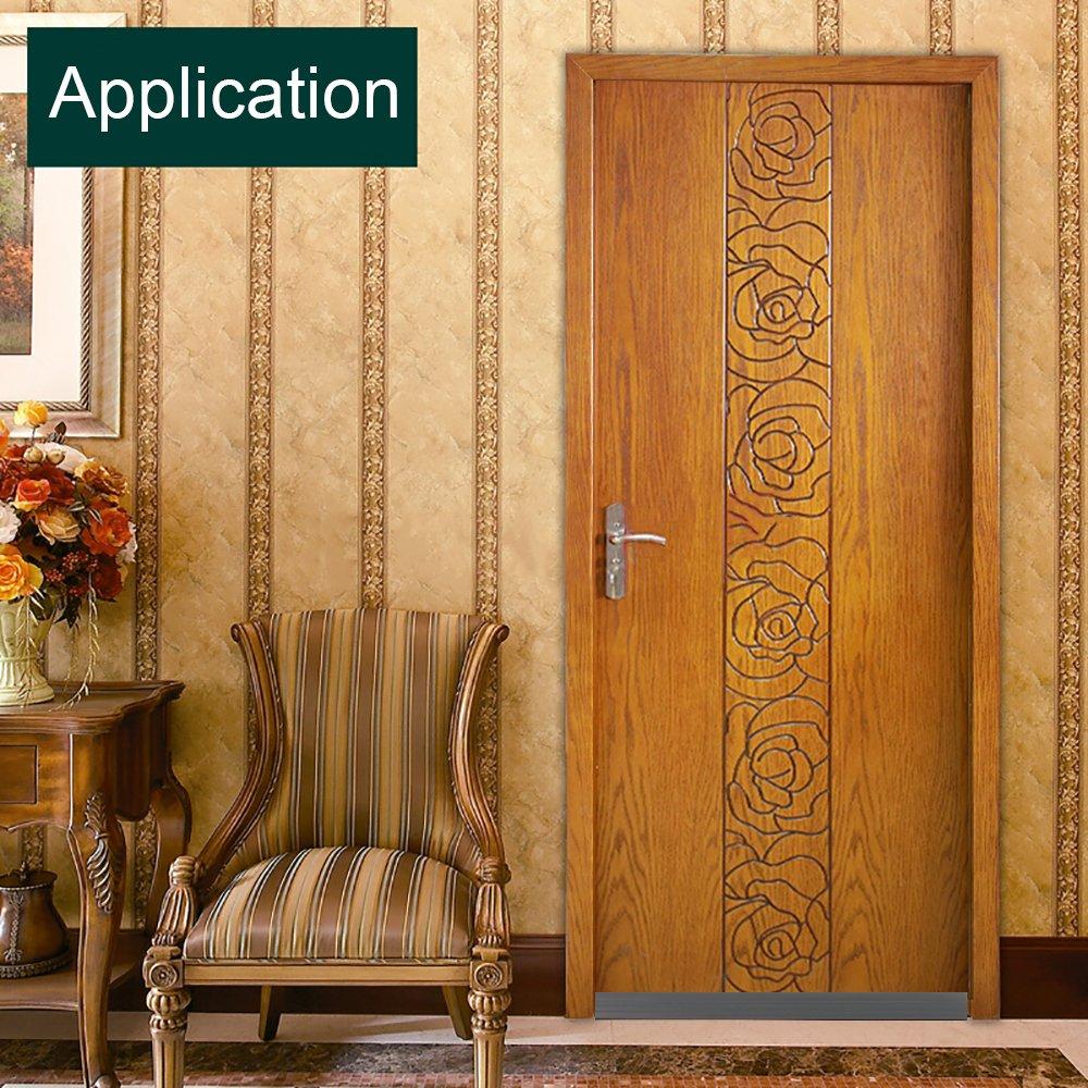 Under Door Sweep Weather Stripping Door Bottom Seal Strip Door Draft Stopper Door Weather Seal, 2'' Width x 39'' Length, Black