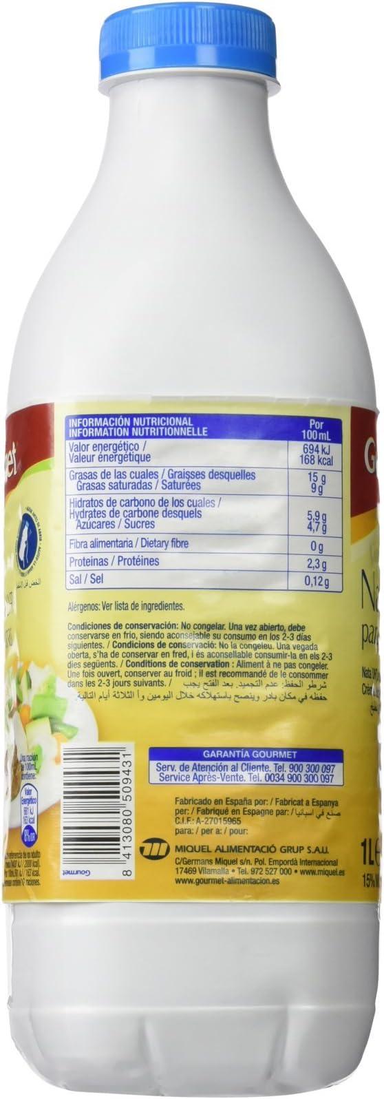 Gourmet - Nata Uht Para Cocina 1 L: Amazon.es: Alimentación y bebidas
