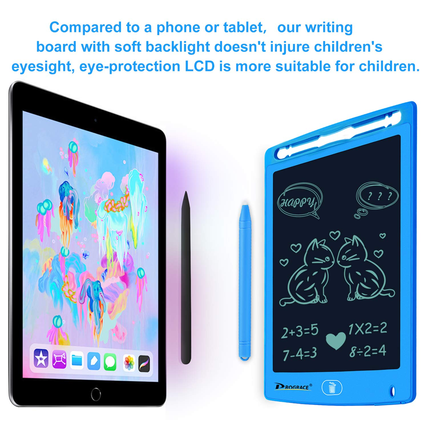 PROGRACE LCD Writing Tablet for Kids Learning Writing Board Magnetic Erase LCD Writing Pad Smart Doodle Drawing Board for Home School Office Portable Electronic Digital Handwriting Pad 8.5\