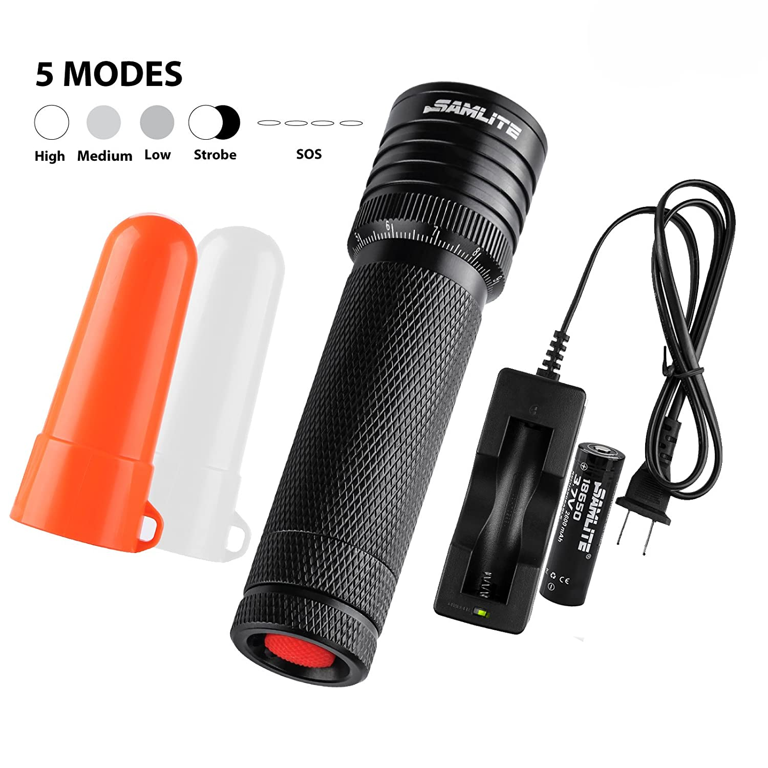 SAMLITE - LED Camping Flashlight Tactical Military Grade, Super Bright 460 Lumens, Cree-T6, Water Resistant, Adjustable Focus Zoom Light, Life of up To 100,000 hours, White and Red Diffuser Included