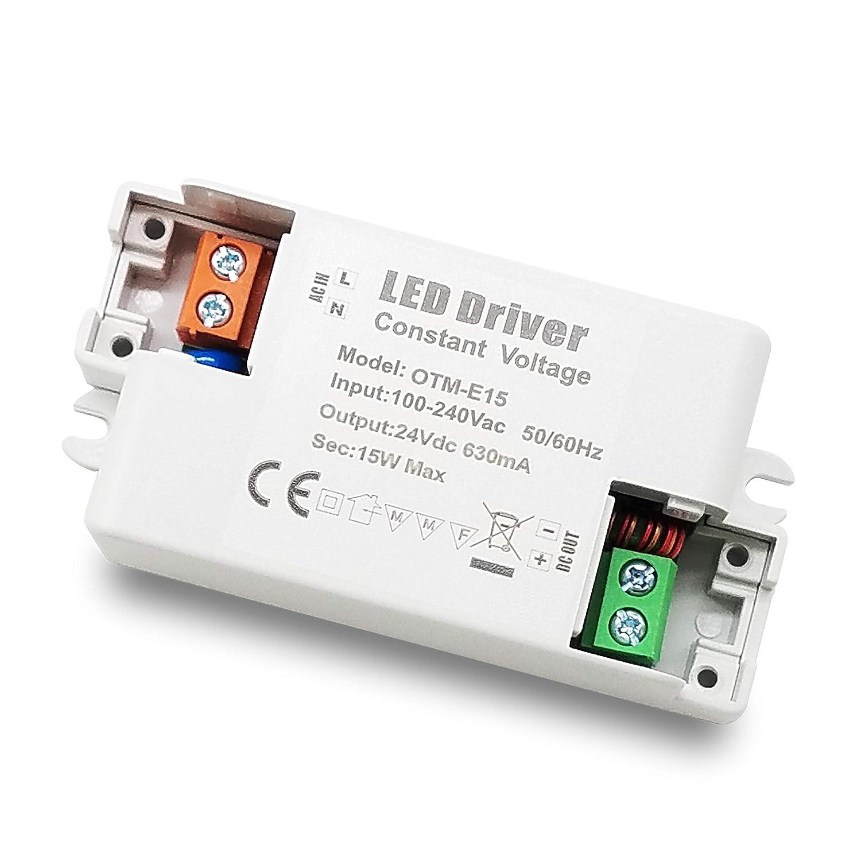 1-Paquete Transformador de Conductor LED de Bajo Voltaje IP44 24V 0.625A 15W Fuente de Alimentaci/ón Conmutada de CA//CC YAYZA