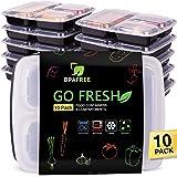 Contenitori Alimentari a 3 scomparti [10-confezione], Meal Prep Containers da utilizzare come Bento Box, Contenitori plastica per alimenti, BPA-free, adatti per Freezer, Lavastoviglie, Microonde