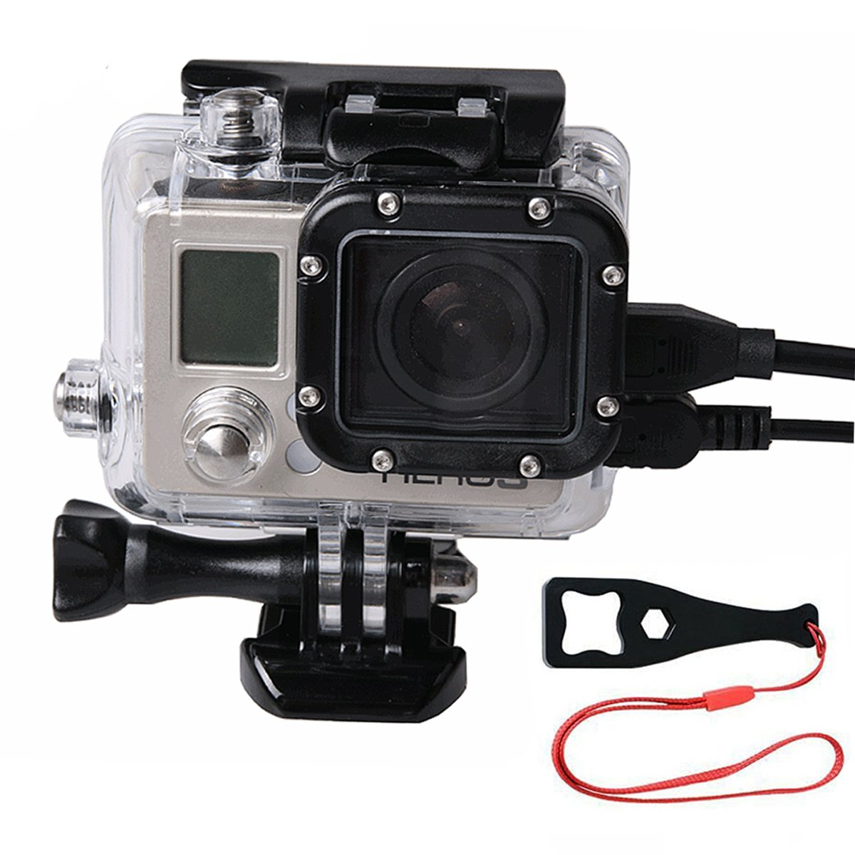 SmilePowo Side Openings Protective Shell Housing Case Camera Accessory ,Skeleton Housing For Gopro Hero4,HERO4 BLACK,HERO4 Silver,Hero3,Hero3+ Camera  Including Wrench