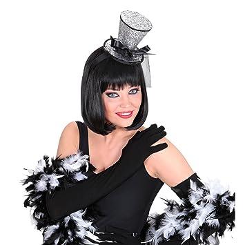 Can Can Minizylinder silber Minihut Burlesque Hut Damen Kopfbedeckung Tänzerin