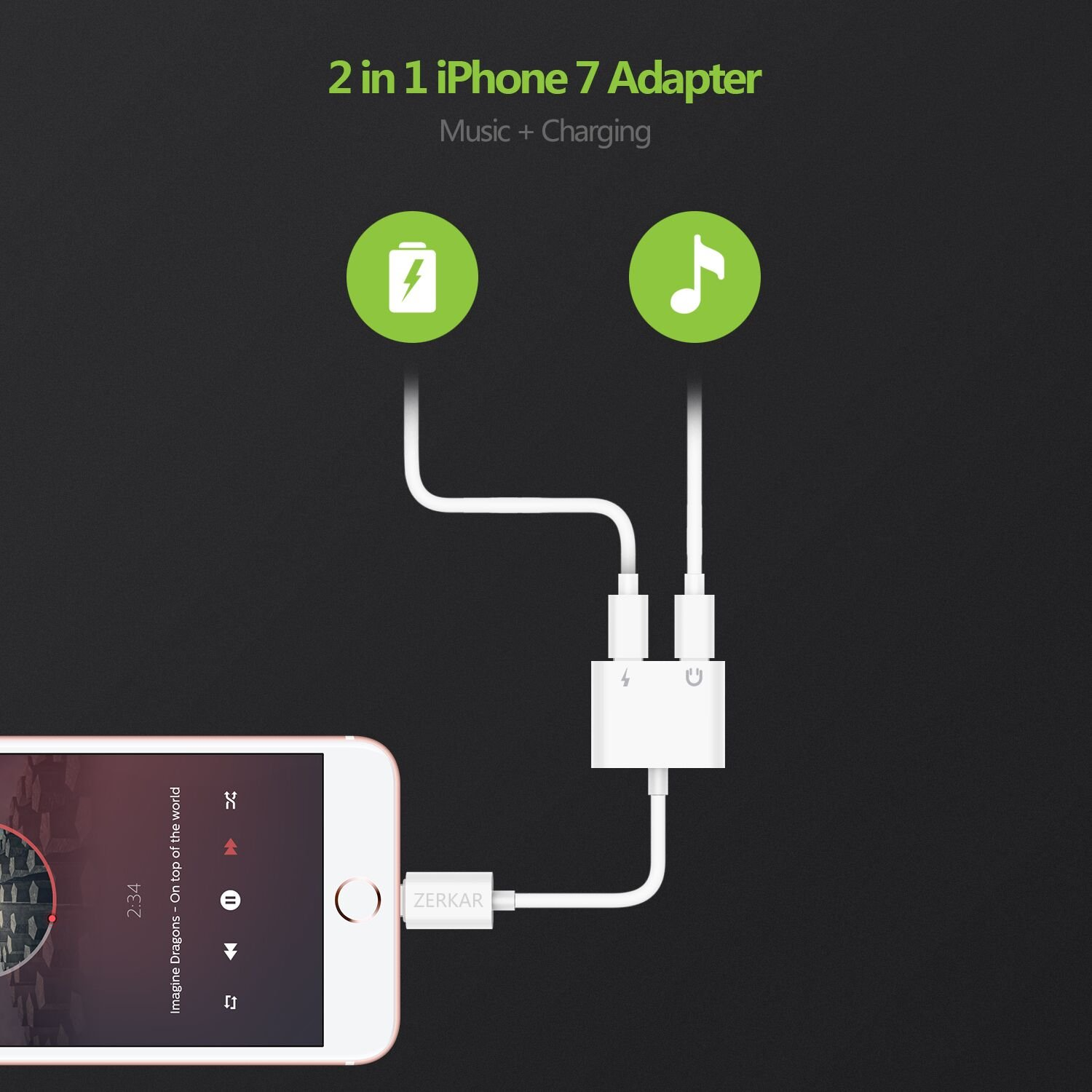 ZERKAR 99 Lightning Headphones for iPhone 8/7, Audio Adapter, Earphone, Support IOS 11, Charge Splitter 3.5 mm Jack Headphone and Charge - White