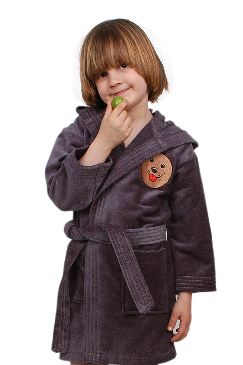 Boys and Girls Kids Ekstra Soft Cotton Hooded Bathrobe with Embroidered Made in Turkey