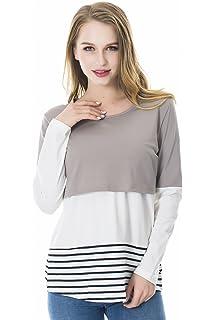 3db1244bfd28c Smallshow Women's Long Sleeve Nursing Tops Back Lace Striped Breastfeeding  Shirt