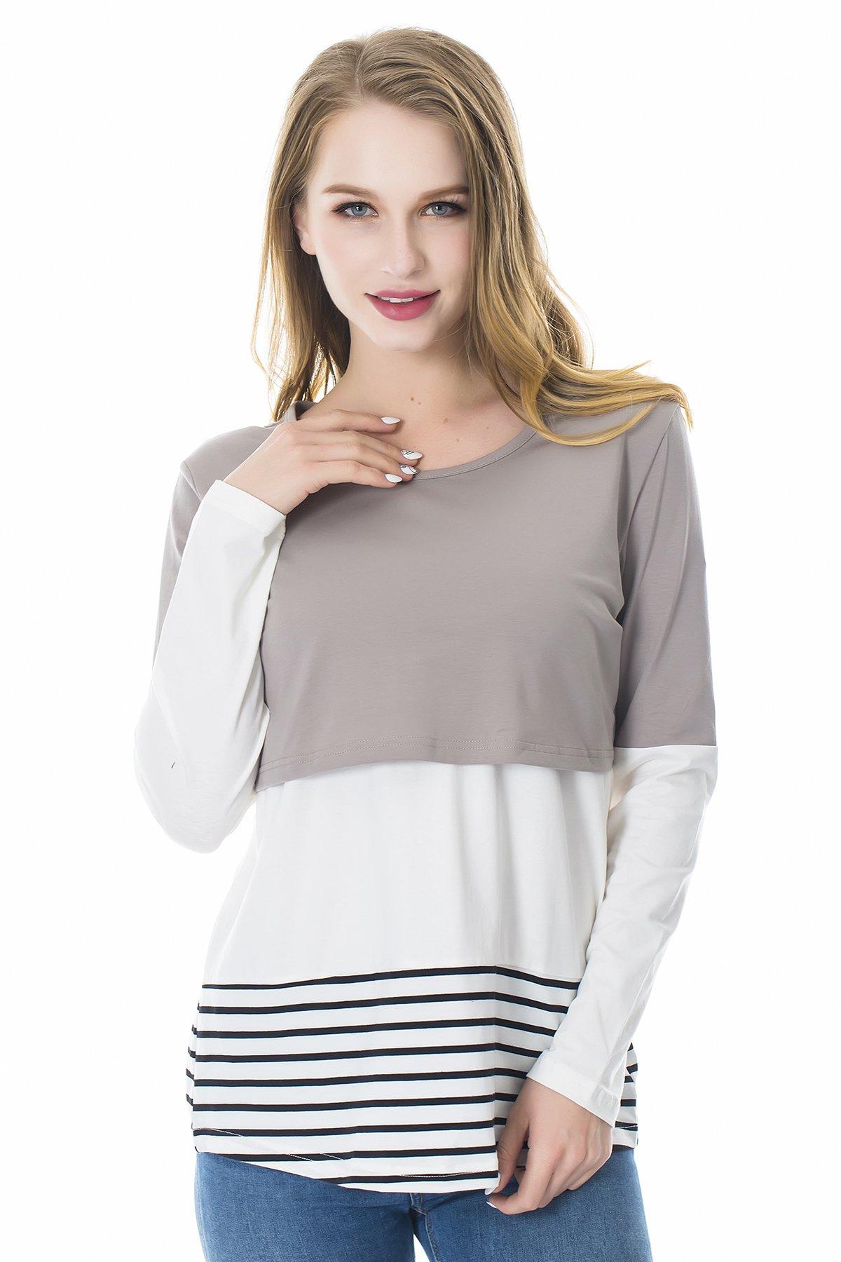 Smallshow Women's Long Sleeve Back Lace Maternity Nursing Tops Medium Light Gray