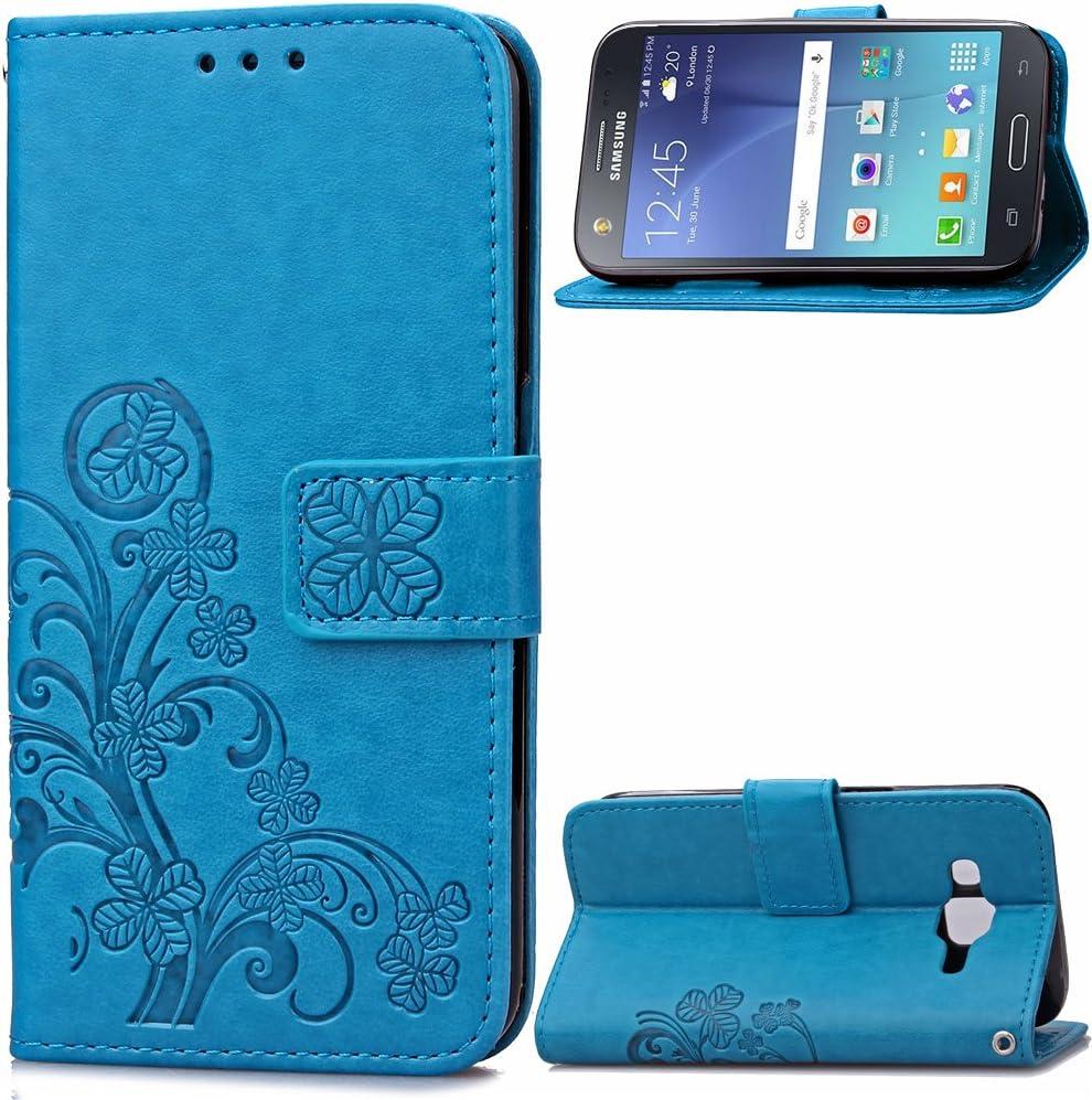 Carcasa para Funda Samsung Galaxy J5 2015, Funda Galaxy J500 Carcasa, Cartera Flip Funda Caja de Cuero de la PU Carcasa con Tapa Flip Case TPU Funda (Blue). RF07