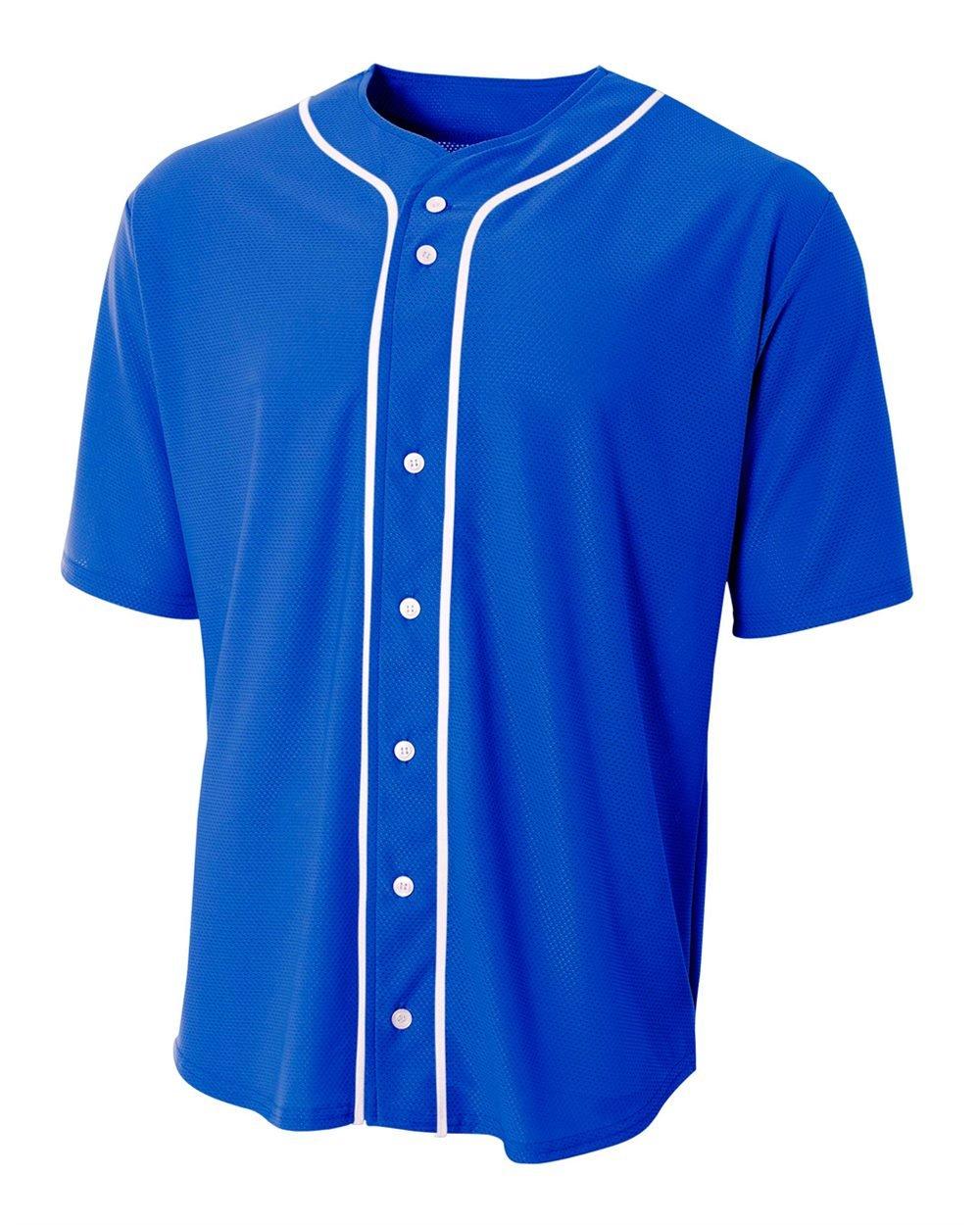 A4 Sportswear Royal Blue Youth Medium (Blank) Full-Button Baseball Wicking Jersey by A4 Sportswear