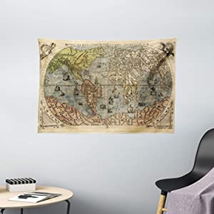 """Ambesonne Antique Tapestry, Map of World Global History Stained Paper Oceans Lands Vintage Atlas, Wide Wall Hanging for Bedroom Living Room Dorm, 60"""" X 40"""", Cream Green"""