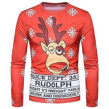 Camiseta de manga larga de Navidad para hombres, LILICAT® Blusa Tops de la impresión