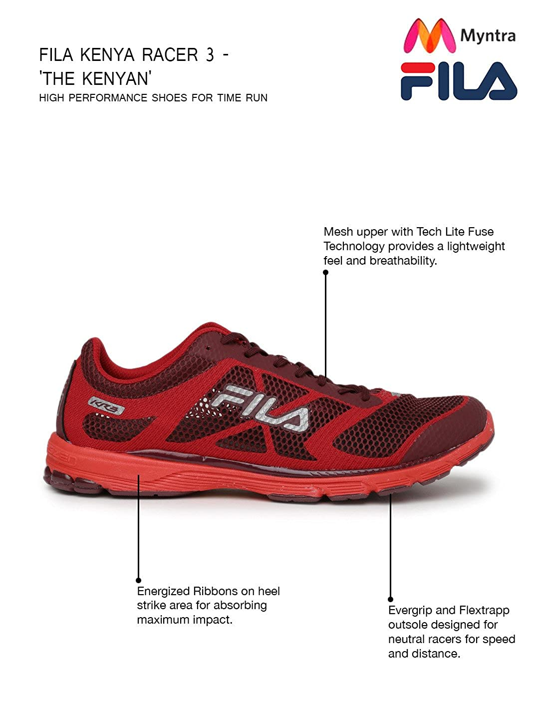 FILA Men Red KR3 Running Shoes (9UK): Buy Online at Low