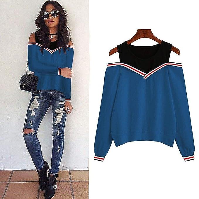 Jumper Sweatshirt Off Shoulder Patchwork Hoodies Top Autumn Winter Crew Neck Pullovers Tracksuit Ladies Tops Blue