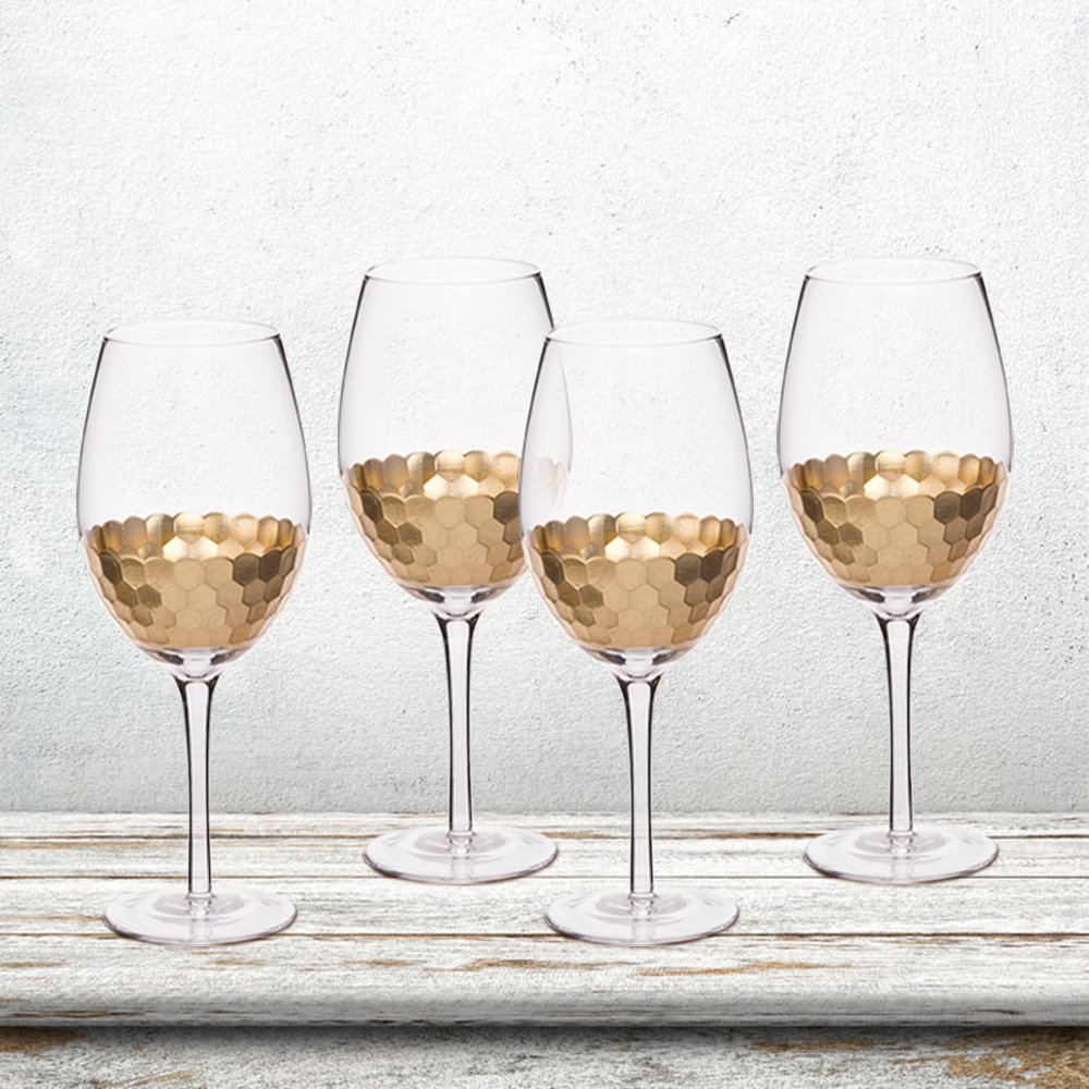 Gold Plated Wine Glasses Set of 4