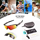 OULIQI Men Polarized Sports Sunglasses with 5