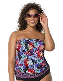 438606da5b Swimsuits for All Women s Plus Size Tropical Bandeau Blouson Tankini Top