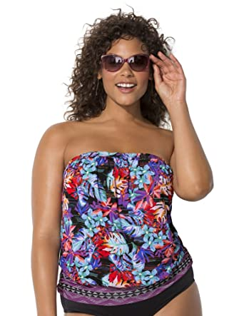 aeddcd1460 Swimsuits for All Women's Plus Size Tropical Bandeau Blouson Tankini Top at  Amazon Women's Clothing store: