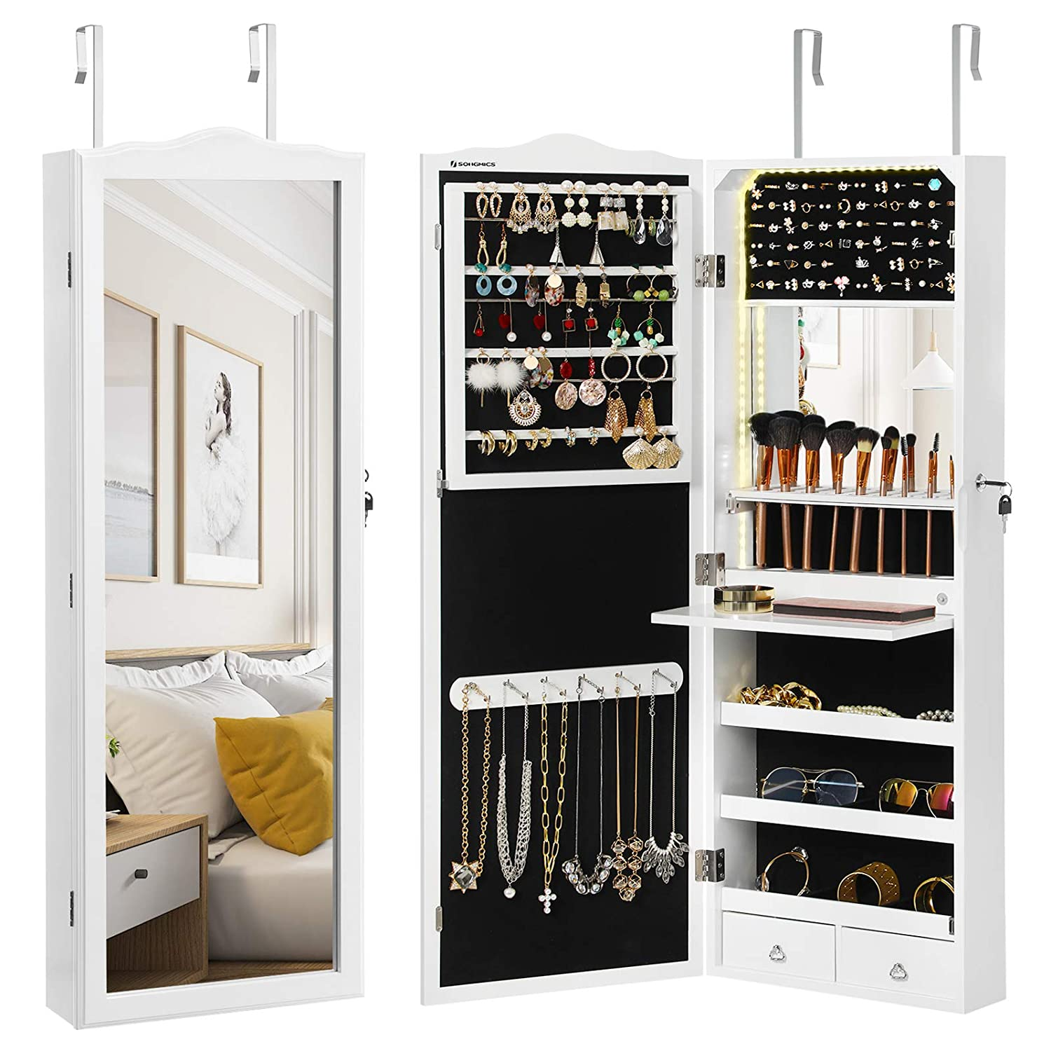 SONGMICS 95 LED Bulbs Jewelry Cabinet, Mirrored Jewelry Armoire with Makeup Tray and Inner Mirror, 2 Drawers, White UJJC64WT