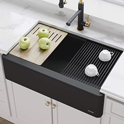 Kraus Farmhouse Sink 33.Kraus 33 Bellucci Apron Workstation Kitchen Sink Farmhouse Single Bowl With Cutting Board In Black