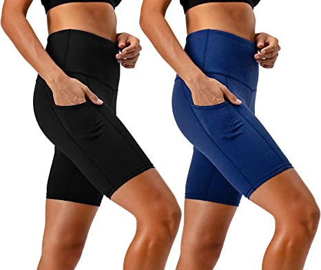 DEVOPS Women's 2-Pack High Waist Workout Yoga Running Exercise Shorts with Side Pockets