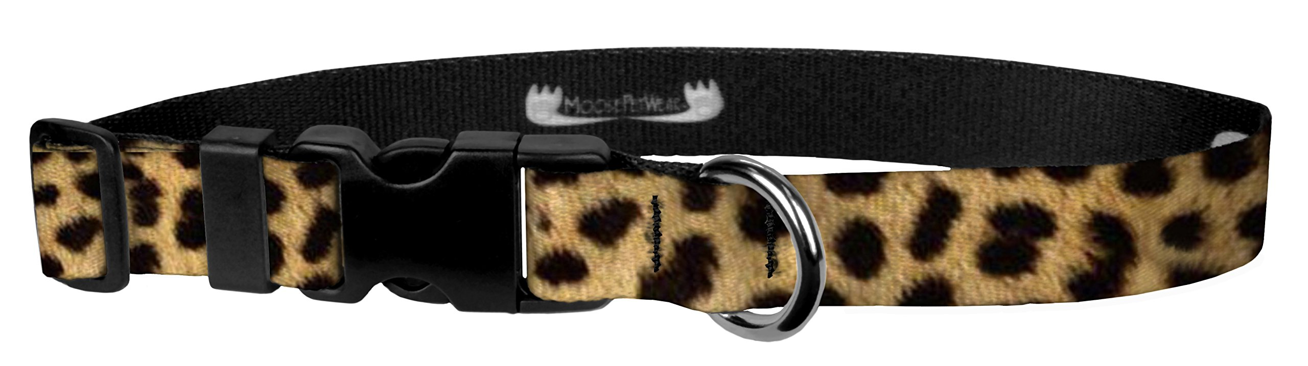 Moose Pet Wear Dog Collar - Patterned Adjustable Pet Collars, Made in the USA - 3/4 Inch Wide, Small, Leopard