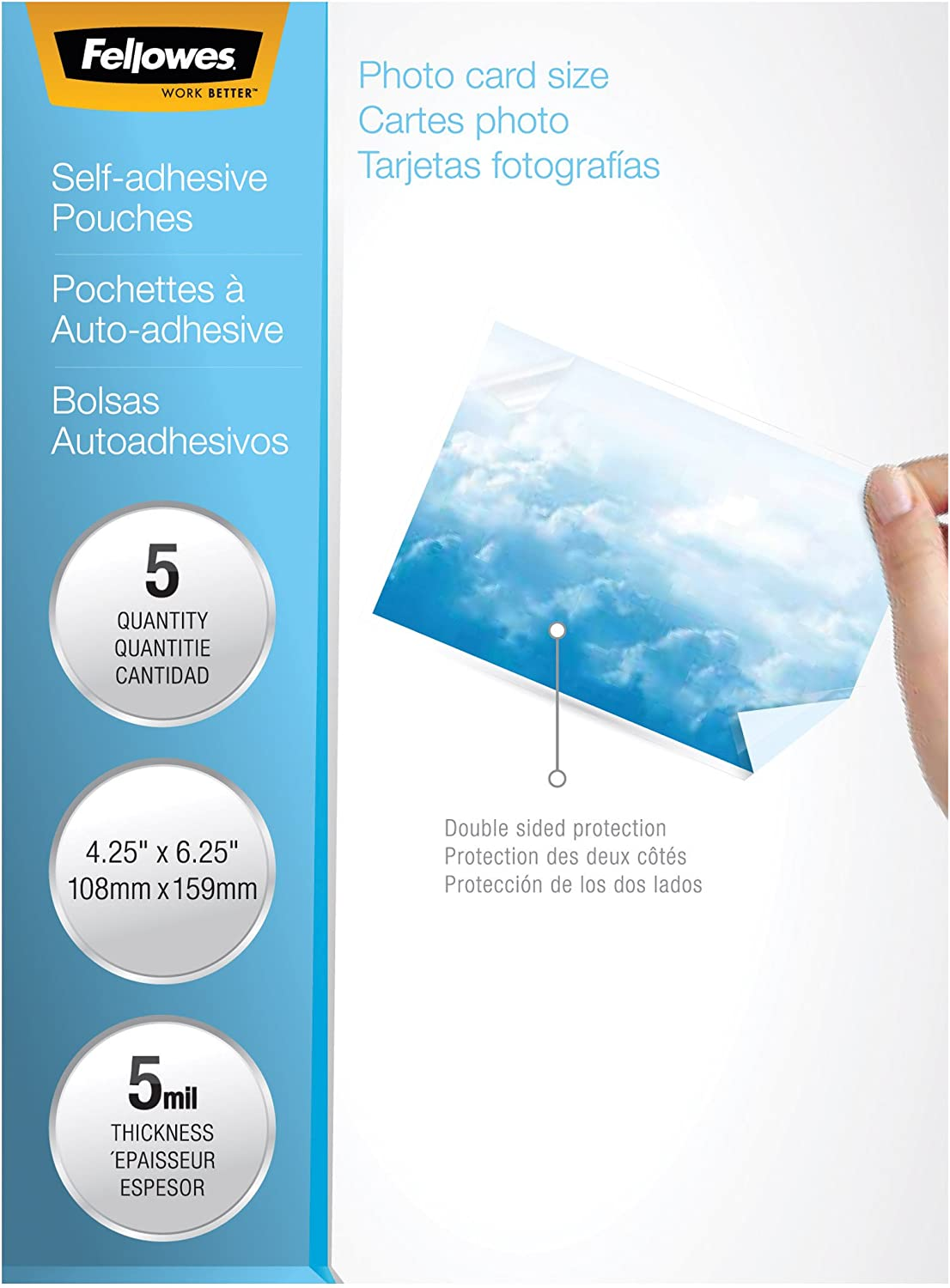 New 12 x 9 1//4 Box of 50 Fellowes 5221502 Self-Laminating Sheets 3mil