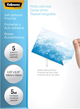 Amazon Com Fellowes Laminating Sheets Self Adhesive Photo Size 5 Mil 5 Pack 5220401 Clear Laminating Supplies Office Products