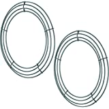 Sumind 2 Pack Wire Wreath Frame Wire Wreath Making Rings Green for New Year Valentines Decoration (12 Inch)