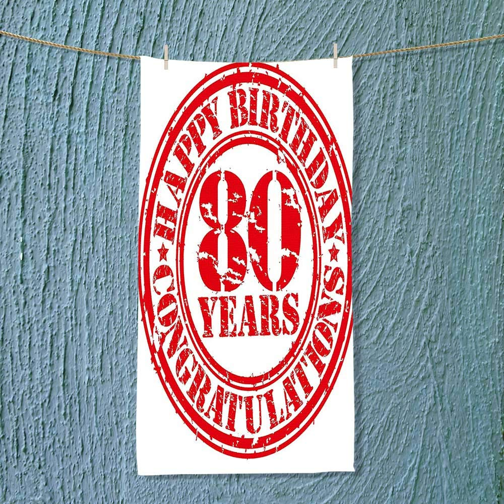 Super Absorbent Towel Decorations Happy Birthday Print Stamp Icon for 80 Years Old Image Print Red Ideal for Everyday use