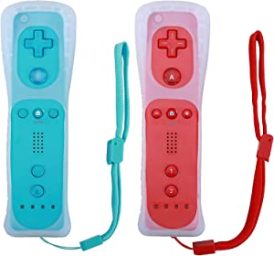 Poulep 2 Packs Wireless Controller for wii wii u Console with Silicone Case and Wrist Strap (Red and Blue)