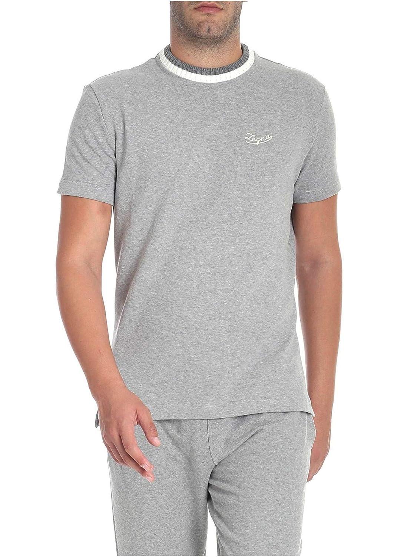 3d6eafee Amazon.com: Ermenegildo Zegna Men's N6m200480023 Grey Cotton T-Shirt ...