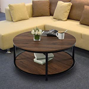 Round Coffee Table Rustic Vintage Industrial Design Furniture Sturdy Metal Frame Legs Sofa Table Cocktail Table with Storage Open Shelf for Living Room, Easy Assembly, Brown