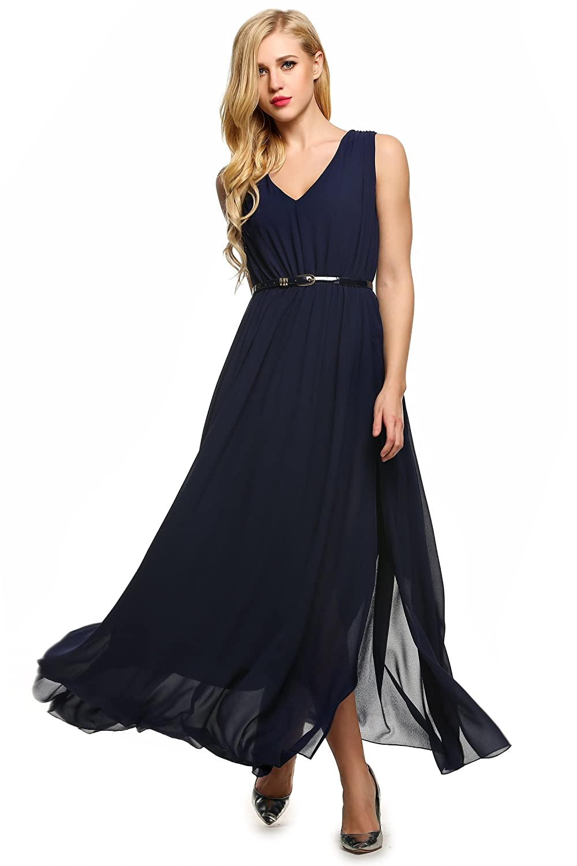 ANGVNS Women Dress Casual V-Neck Sleeveless Chiffon Maxi Slit Dress Belt
