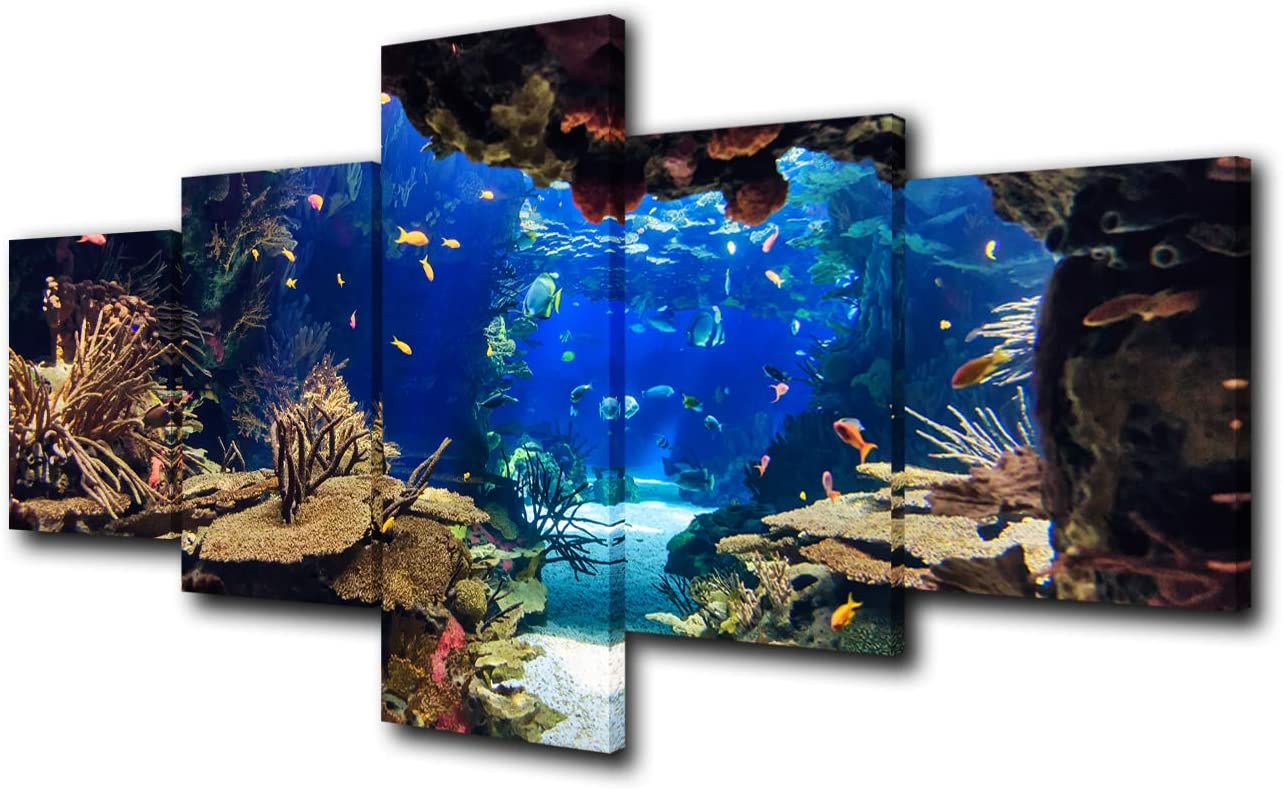 5 Piece Canvas Wall Art Tropical Fish Pictures for Living Room Underwater World Paintings Undersea Coral Reef Artwork HD Prints Giclee Home Modern Decor Framed Stretched Ready to Hang(50''W x 24''H)