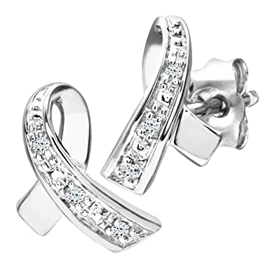 Naava 9 ct White Gold Women's Diamond Earrings y48rd4e6tO