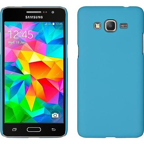 PhoneNatic Funda Rígida para Samsung Galaxy Grand Prime - Goma Azul Claro - Cover Cubierta + Protector de Pantalla