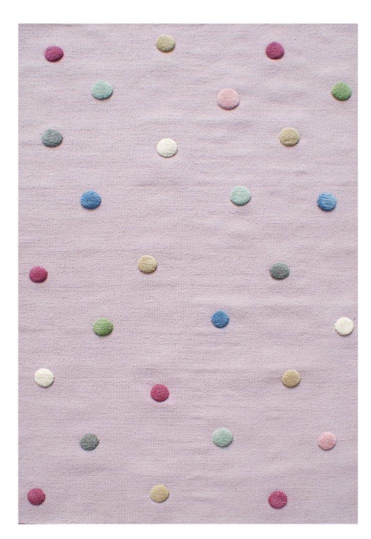Livone Hochwertiger Jugendteppich aus Wolle Kinderzimmer Kinderteppich in Flieder mit Punkten in rot blau Creme Weiss grün Mint grau rosa Größe 120 x 180 cm