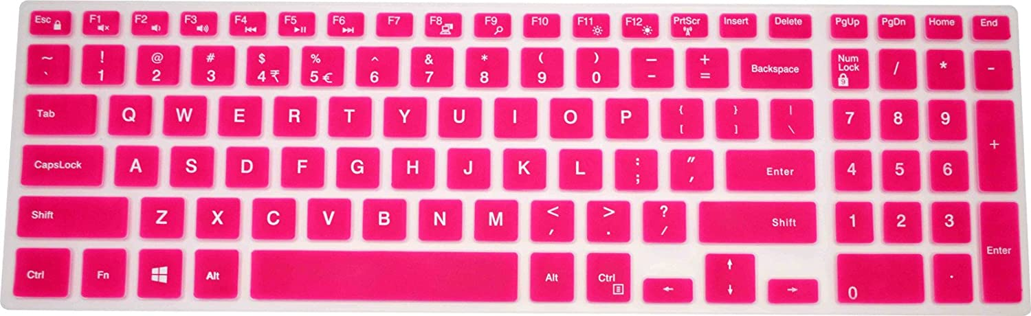 "PcProfessional Hot Pink Ultra Thin Silicone Gel Keyboard Cover for Dell Inspiron 15 3000 Series 15.6"" Laptop with Application Kit (Please Compare Keyboard Layout and Model)"