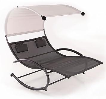Belleze Double Chaise Rocker Patio Furniture Seat Chair Swing w/ Canopy u0026 Pillow ...  sc 1 st  Amazon.com : chaise rocker - Sectionals, Sofas & Couches
