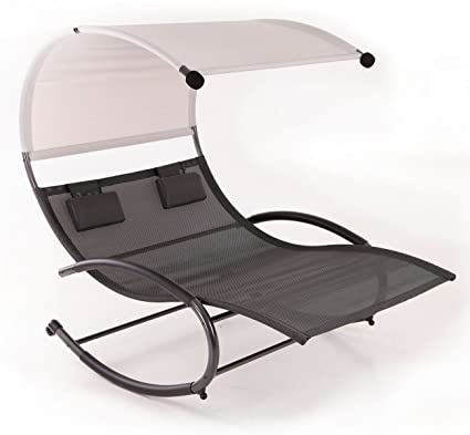 Belleze Double Chaise Rocker Patio Furniture Seat Chair Swing W/Canopy U0026  Pillow, ...