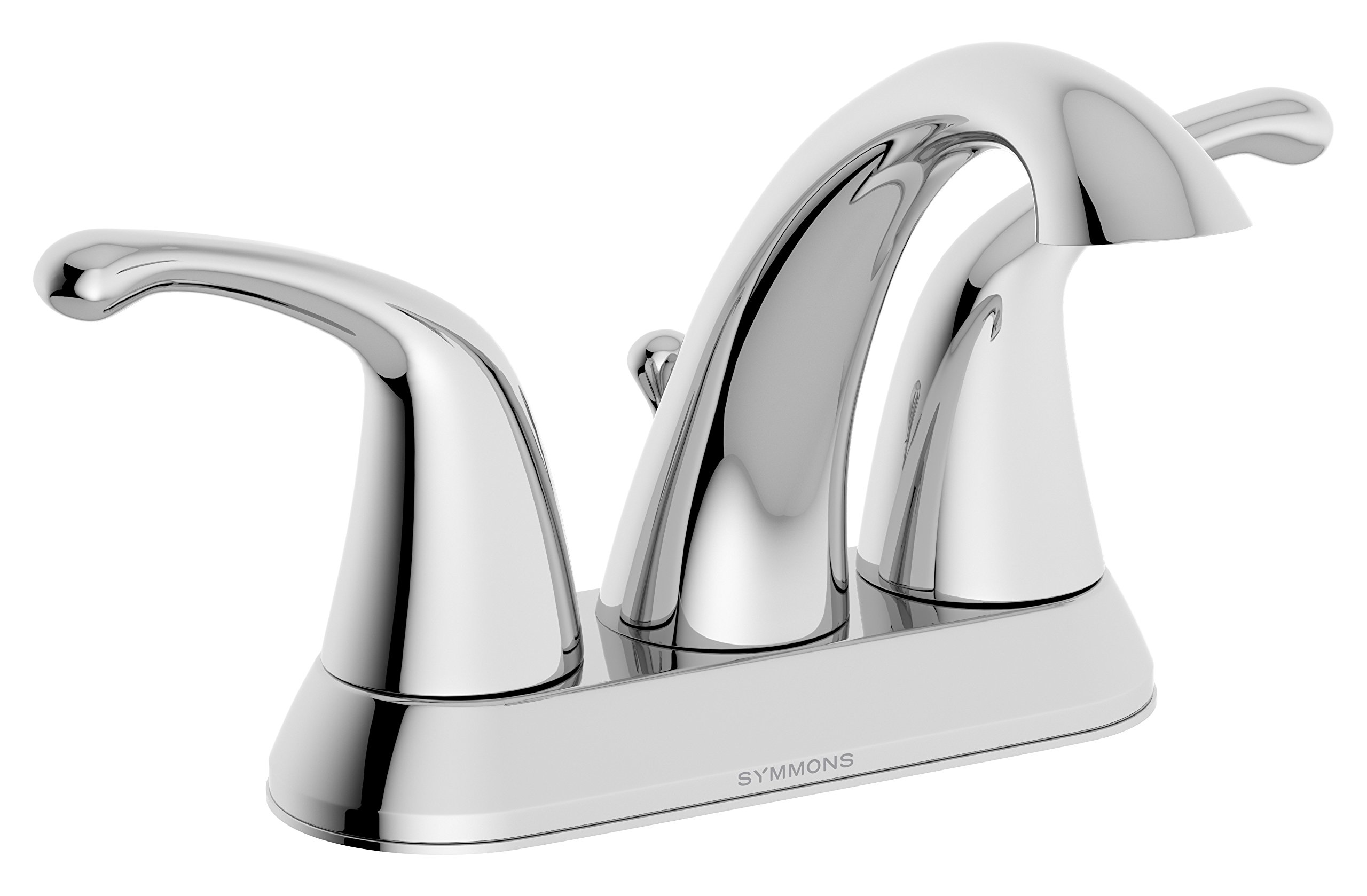 Symmons Unity Two-Handle 4 Inch Centerset Bathroom Faucet with Pop-Up Drain & Lift Rod, Chrome (SLC-6612)