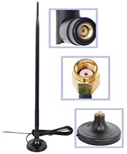 """Dual Band Wi-Fi 9dbi Booster Long Range Omni Directional 2.4/5Ghz 802.11n/b/g Antenna with RP-SMA Male Connector on Magnetic Base (19,5""""/50cm RG174 Coaxial Cable)"""