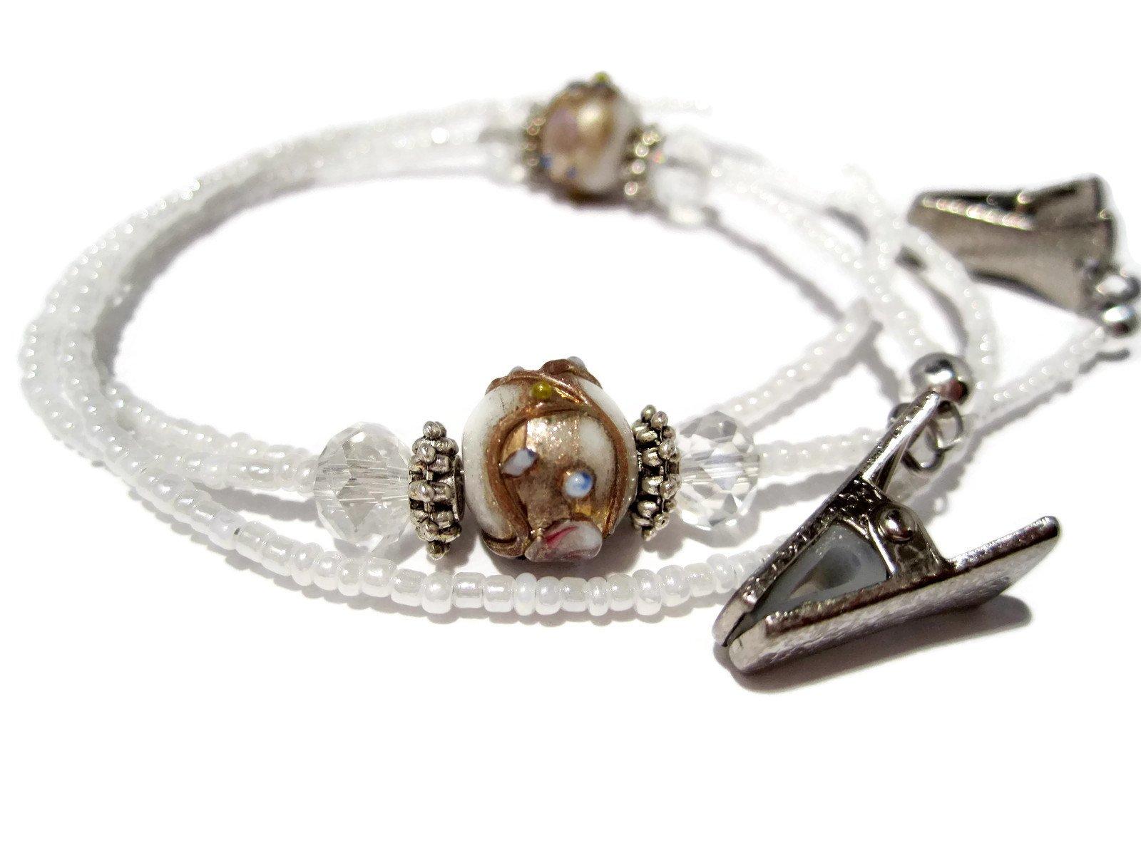 ATLanyards White Lampwork Decorative Beaded Eyeglass Holder- Beaded Glasses Chain