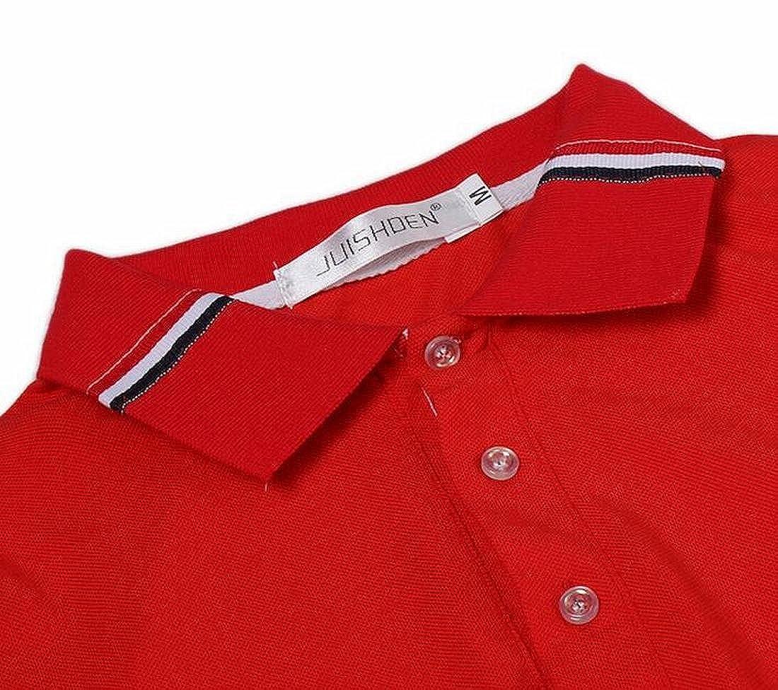 Bravepe Mens Classic Lapel Contrast Short Sleeve Business Bottom Polo Shirt Tee Top