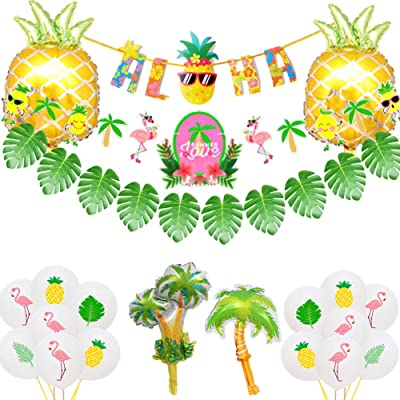 Jelacy Hawaiian Party Decorations Kit ,golden pineapple foil balloon & Aloha Banners,Flamingo Pineapple Banners and Coconut tree and palm tree balloon, Kids or Adults Luau Party Decorations and Party Supplies: Toys & Games