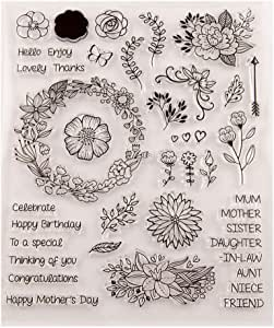 Flower Daisy Leaves Letters Stamps Clear Rubber Stamps for Scrapbooking Card Making Christmas Stamps 210 * 240mm(8.3 * 9.5in) 19081201