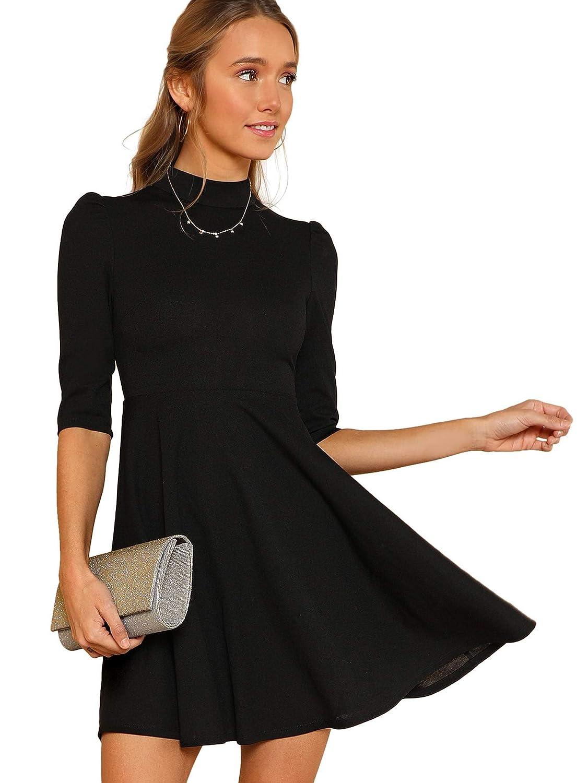 Black Floerns Women's Mock Neck Fit and Flare Dress